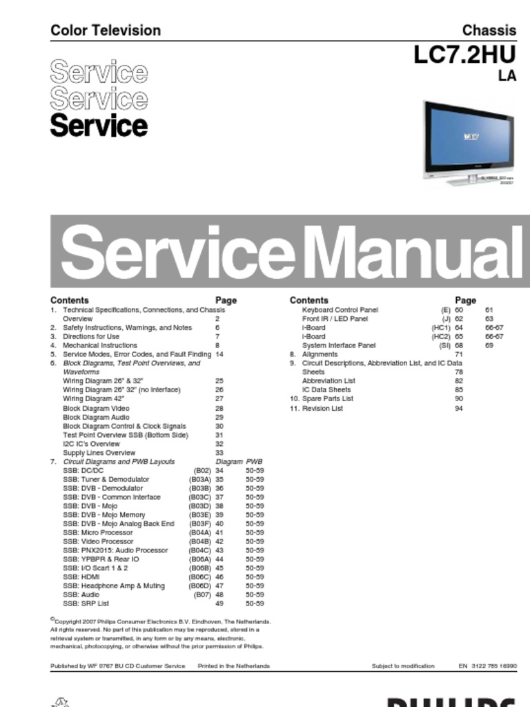 Download Ptelectronisti Philips Tv Ch Lc431e Aa Service Manual Circuit And Wiring Diagram Schematic For Televisions 32