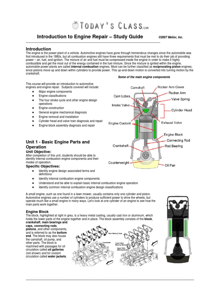 small engine repair study guide
