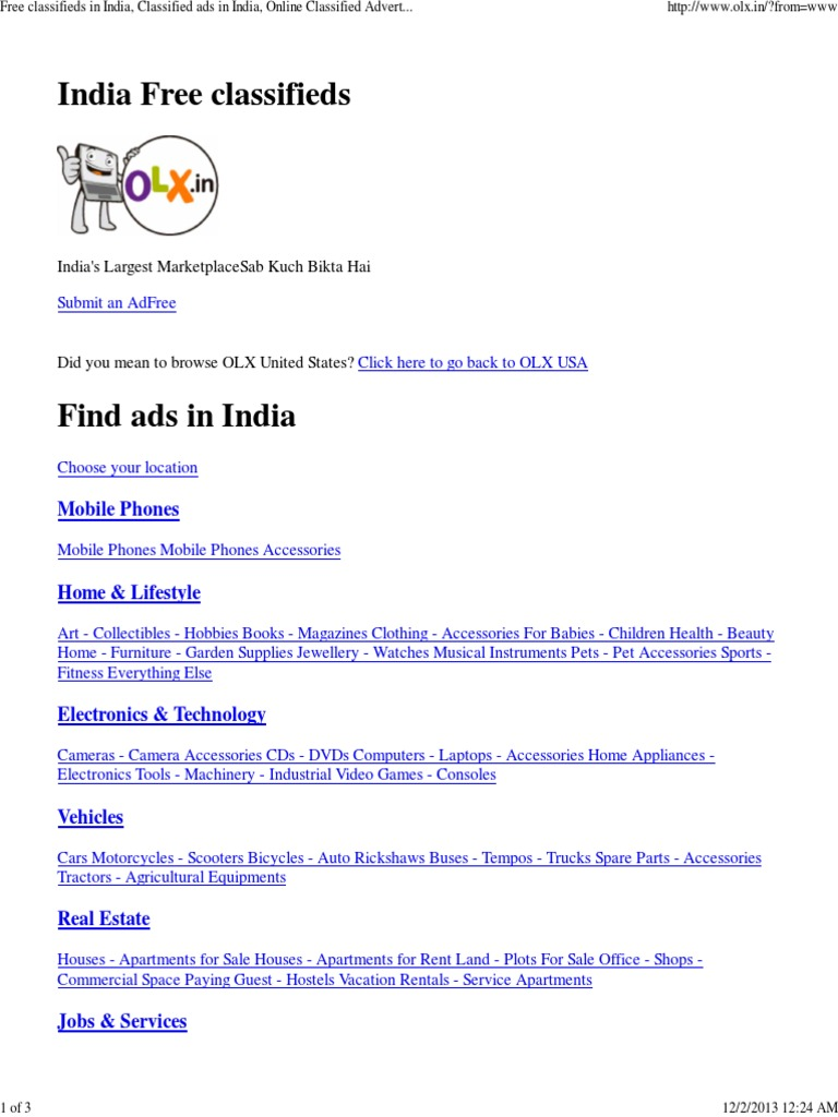 Free Classifieds in India, Classified Ads in India, Online