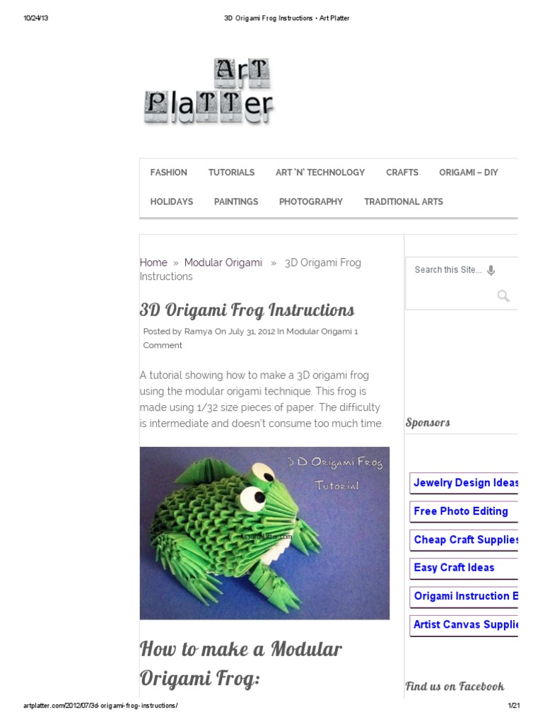 Download origami frog docshare 3d origami frog instructions art platter jeuxipadfo Images