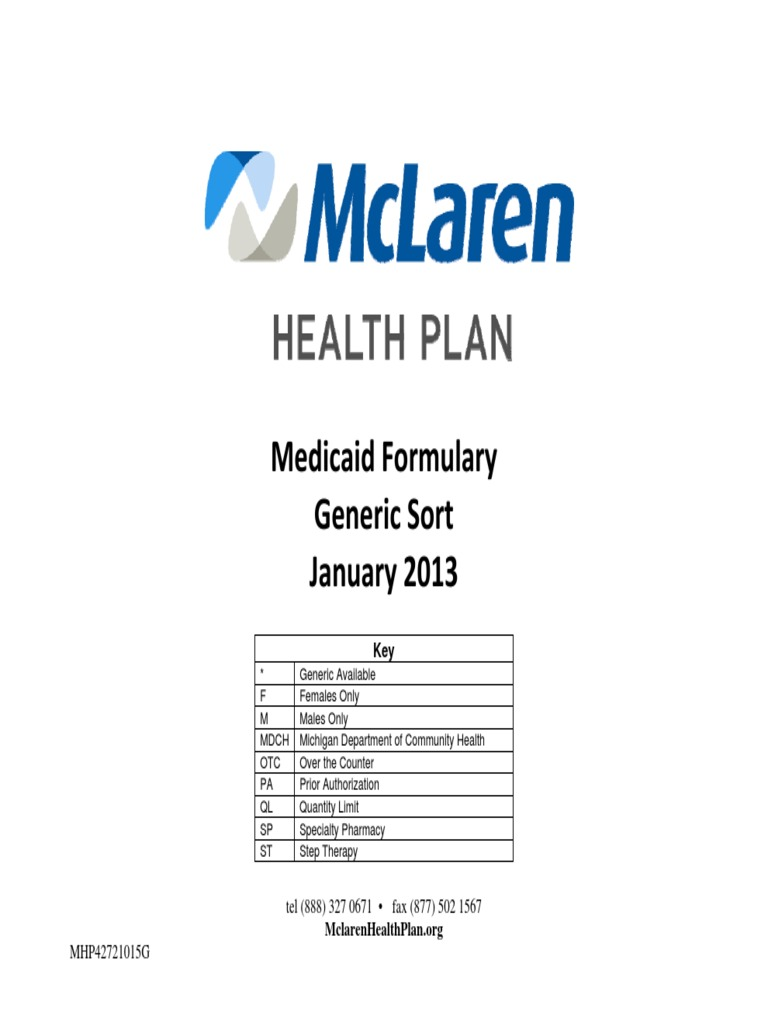 Awesome Positive Listing Generic Medicaid McLaren Health Plan HMO   DocShare.tips