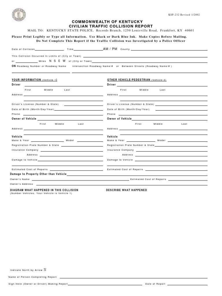 Kentucky State Police Accident Report Form - DocShare tips