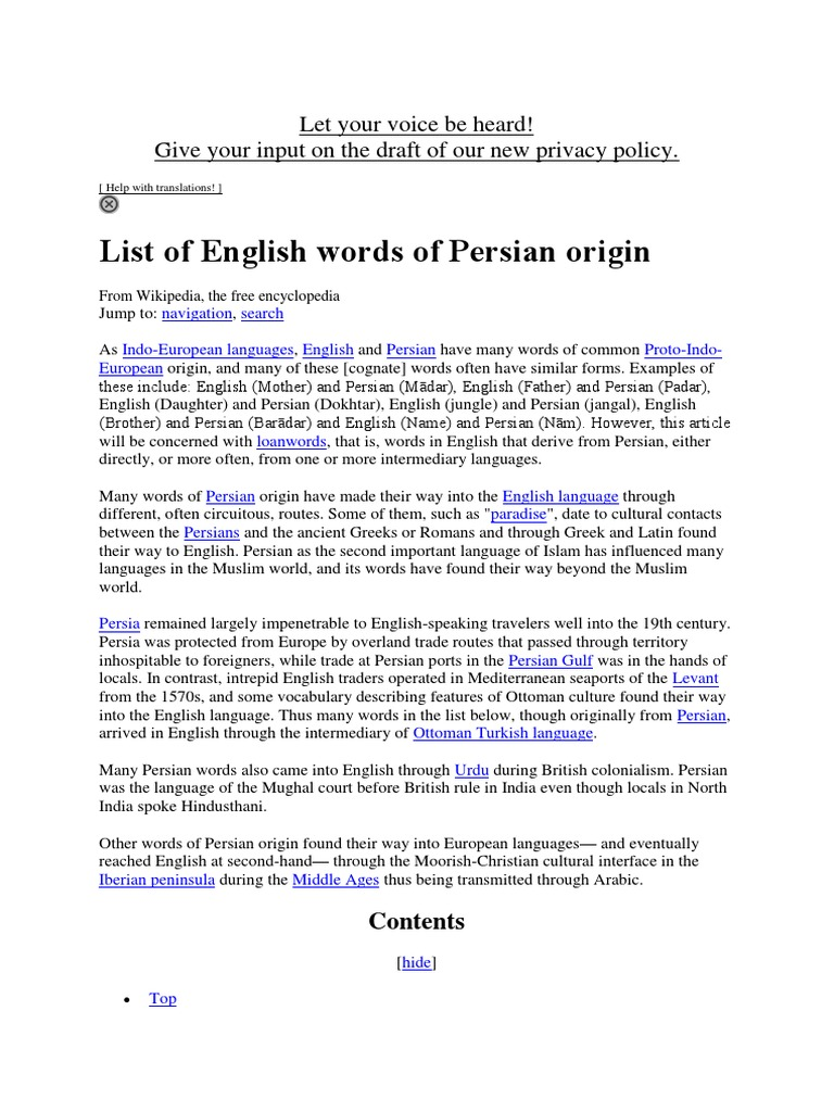 List of English Words of Persian Origin - DocShare tips