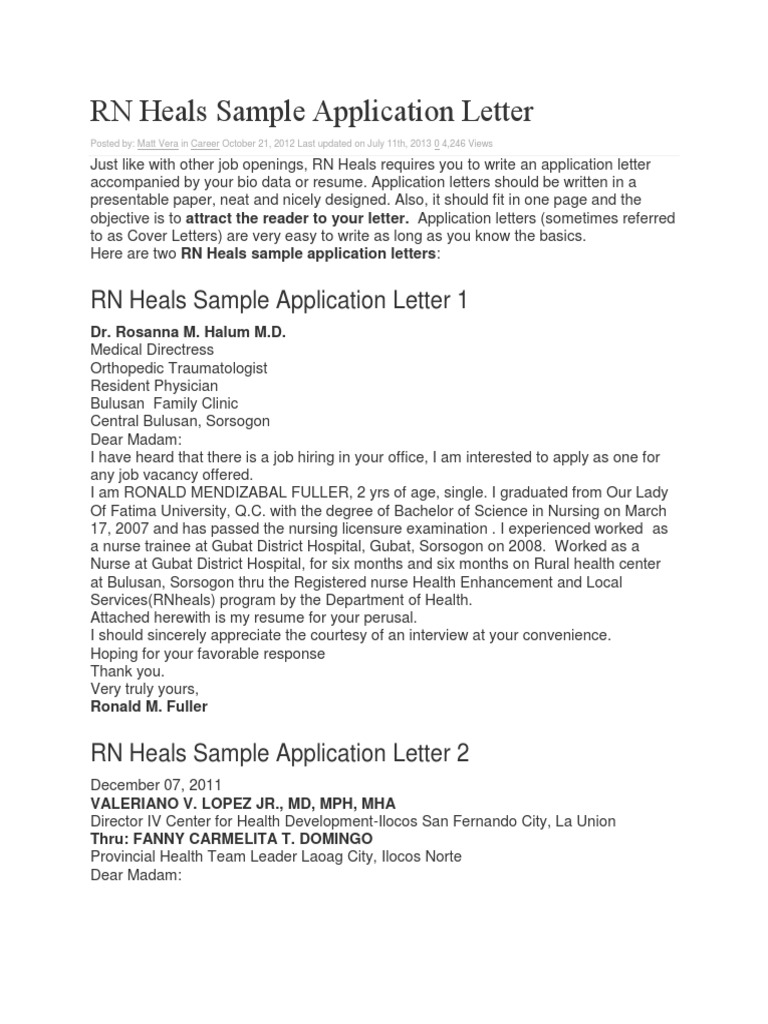 Download RN Heals Sample Application Letter - DocShare.tips
