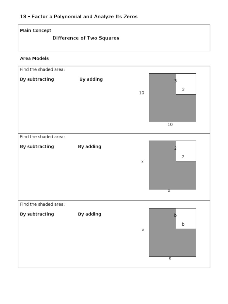 Factoring difference of two squares worksheet pdf