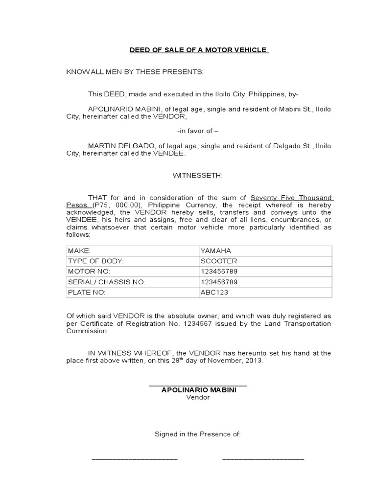 Download LEGAL FORMS Deed Of Sale Motor Vehicle DocSharetips - Legal forms download