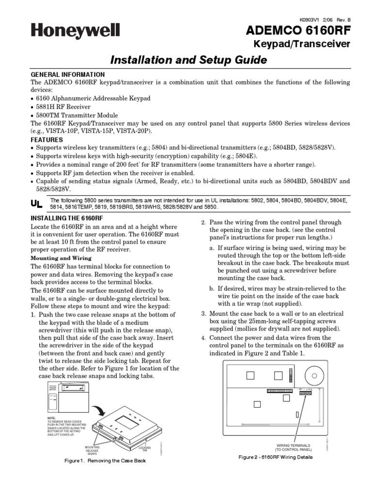 Honeywell vista: program wireless sensor to 6160rf youtube.