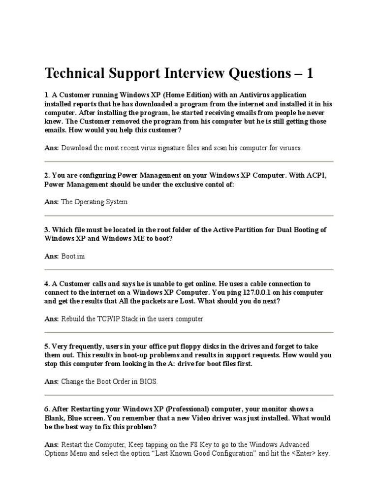 technical support interview questions docshare tips