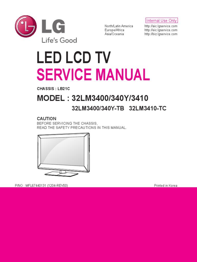 lg tv model 32lm3400 service manual