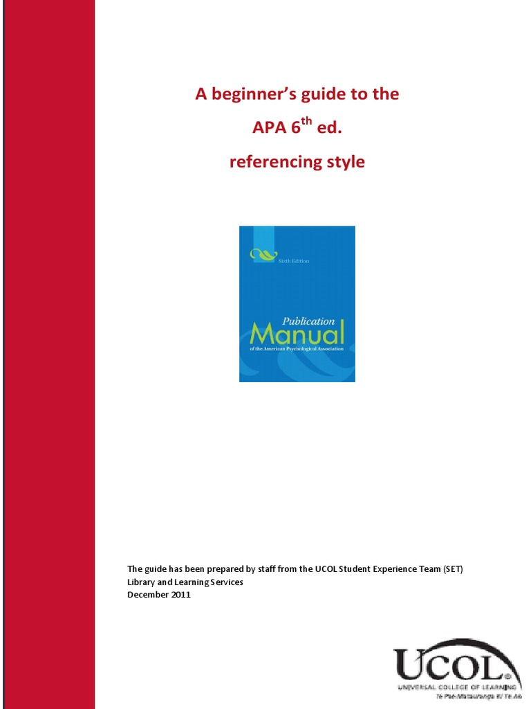 apa style guide for reports A guide to using the apa 6th edition referencing system for in-text citations and reference lists.