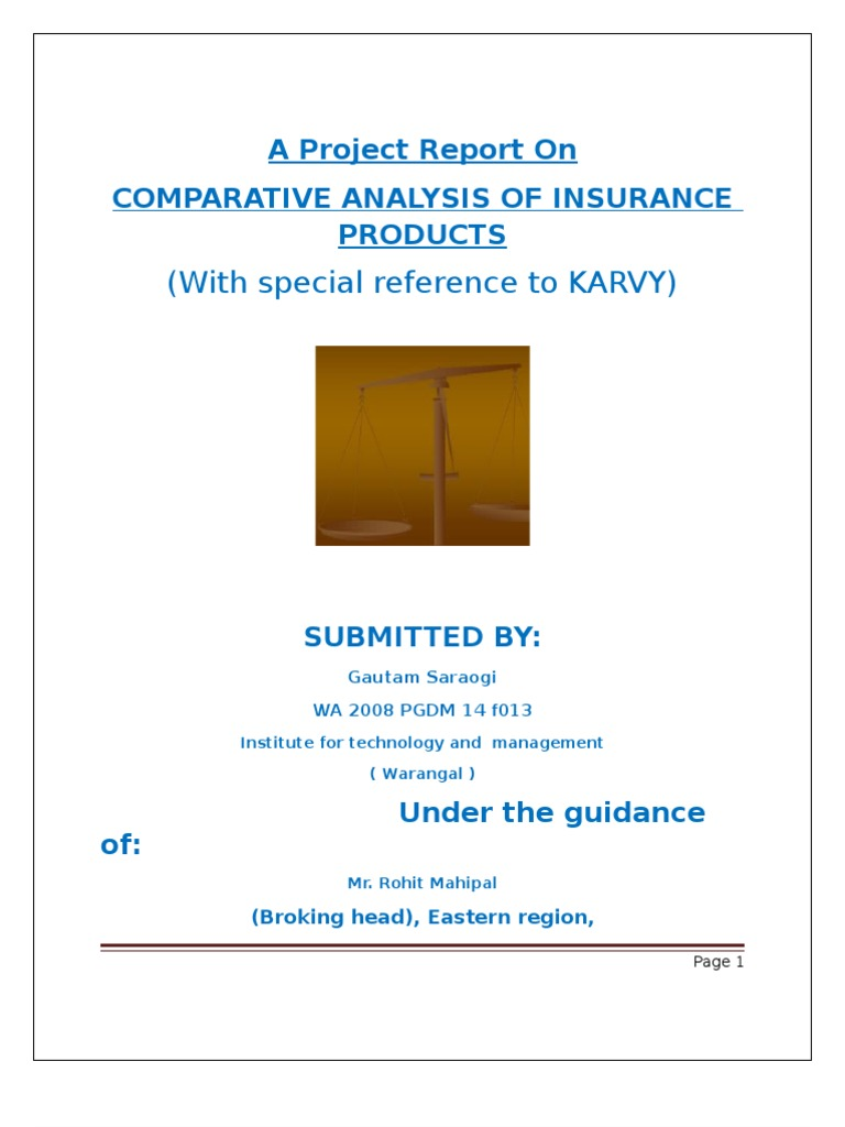 comparative analysis of different insurance product
