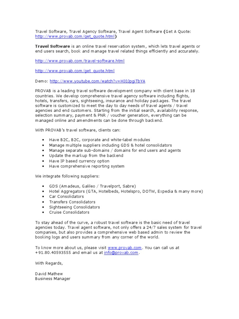 Travel Software, Travel Agency Software, Travel Agent Software (Get