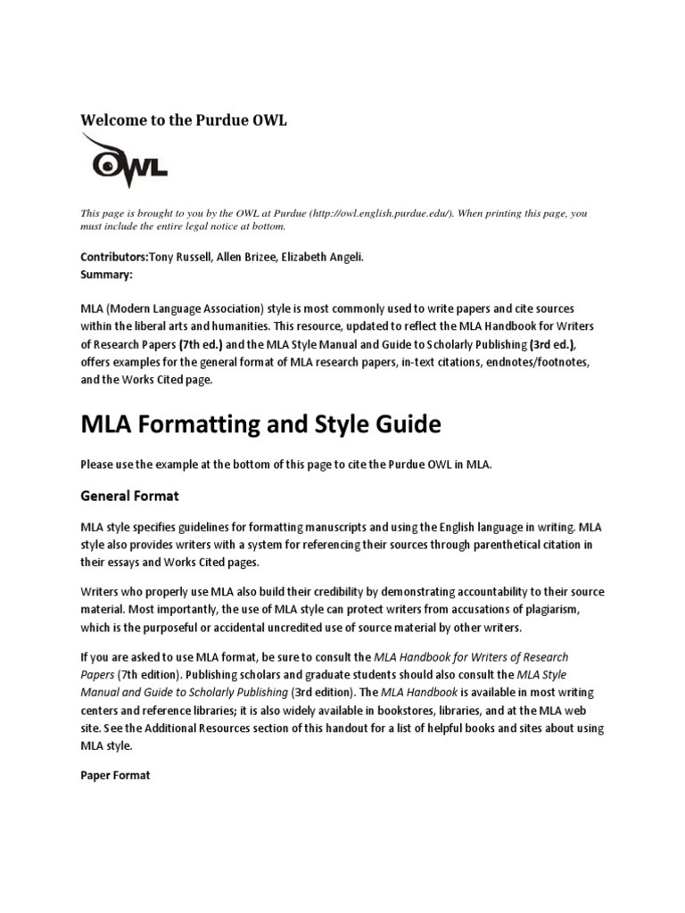 owl purdue mla format research paper Check out our research guides introduction to mla format citing is easier with easybibcom our comprehensive guide will teach you how to format your paper.