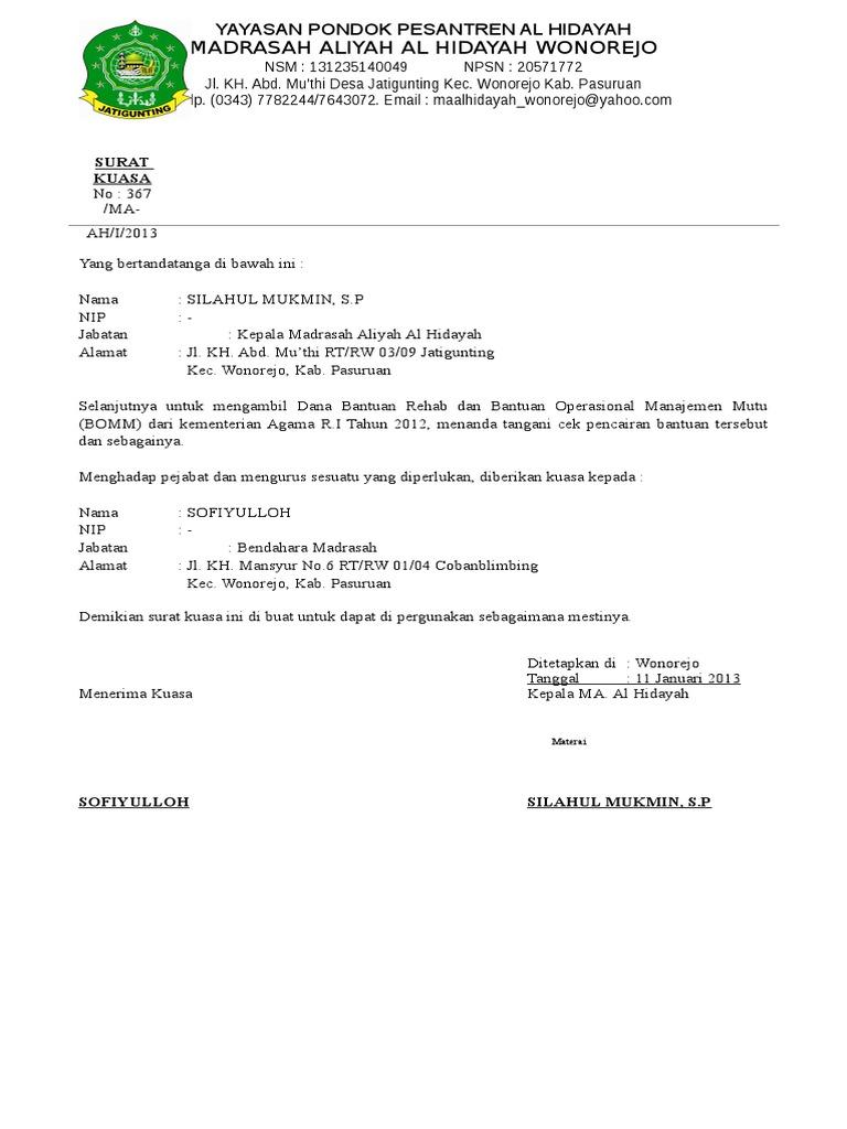 Surat Kuasa Rehab Docsharetips