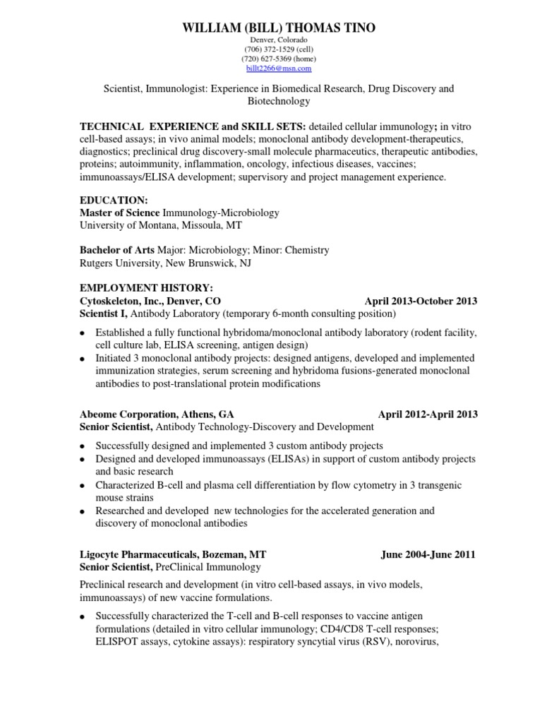 download scientist immunologist biomedical research in usa resume