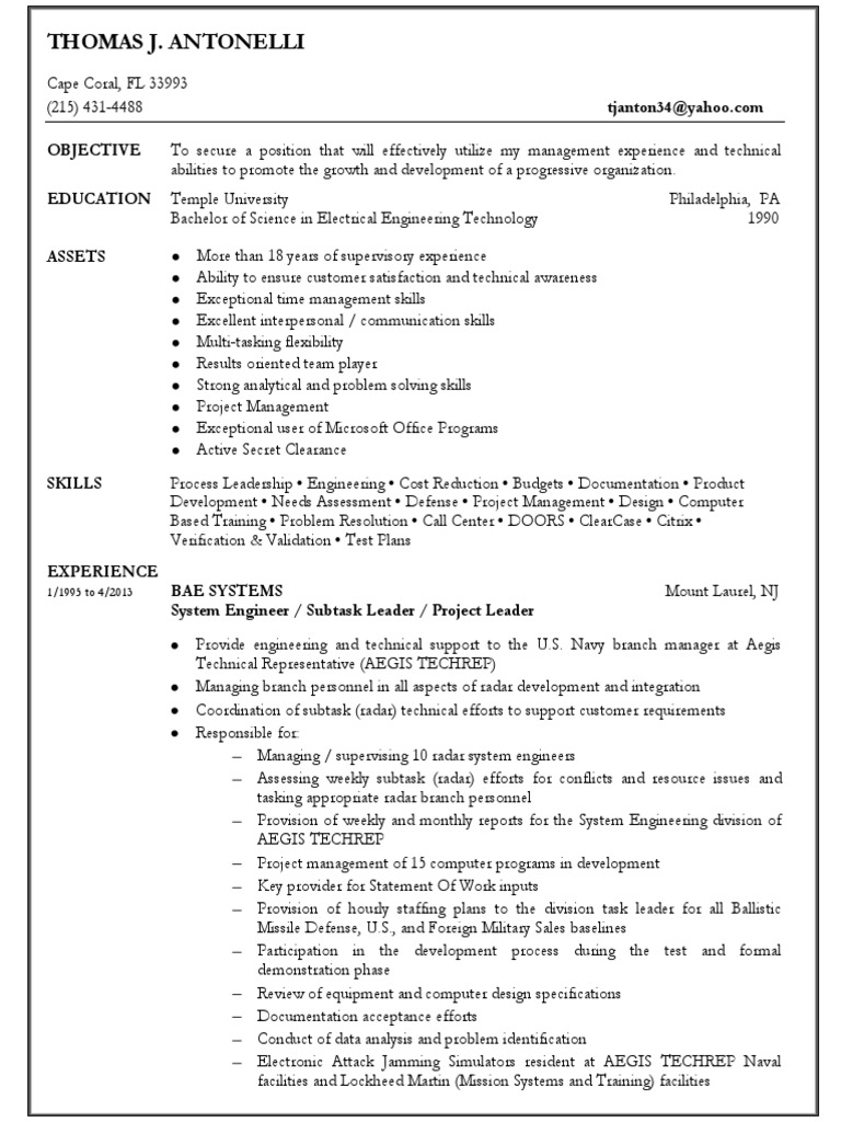 Download Systems Engineering Services Manager in Tampa FL Resume ...