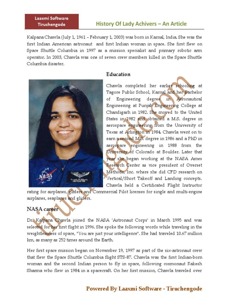 essay on kalpana chawala in punjabi