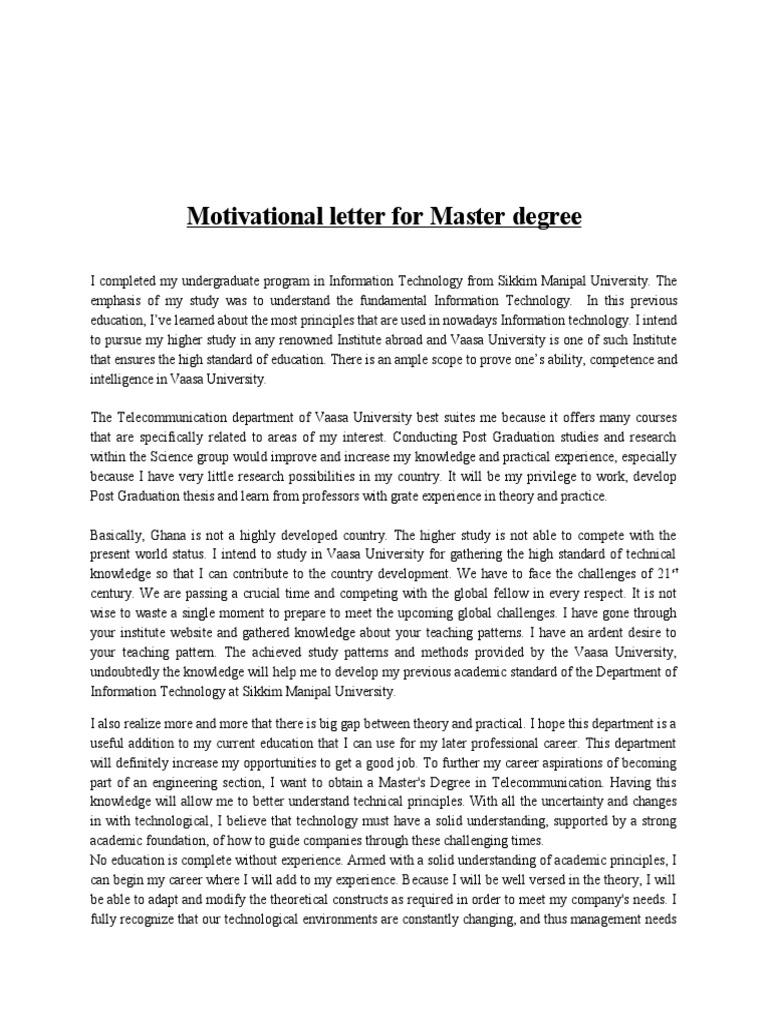 motivational letter for master degree