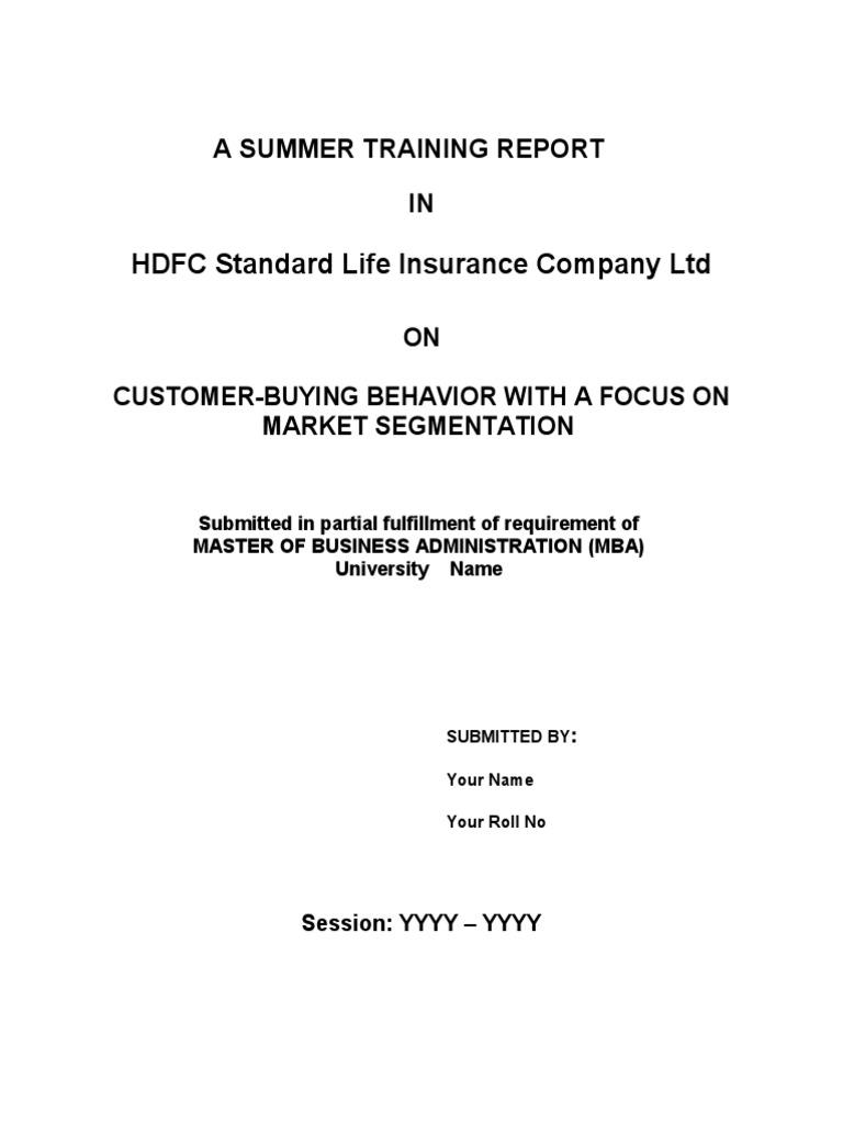 summer internship project report on hdfc standard life insurance bharatpur