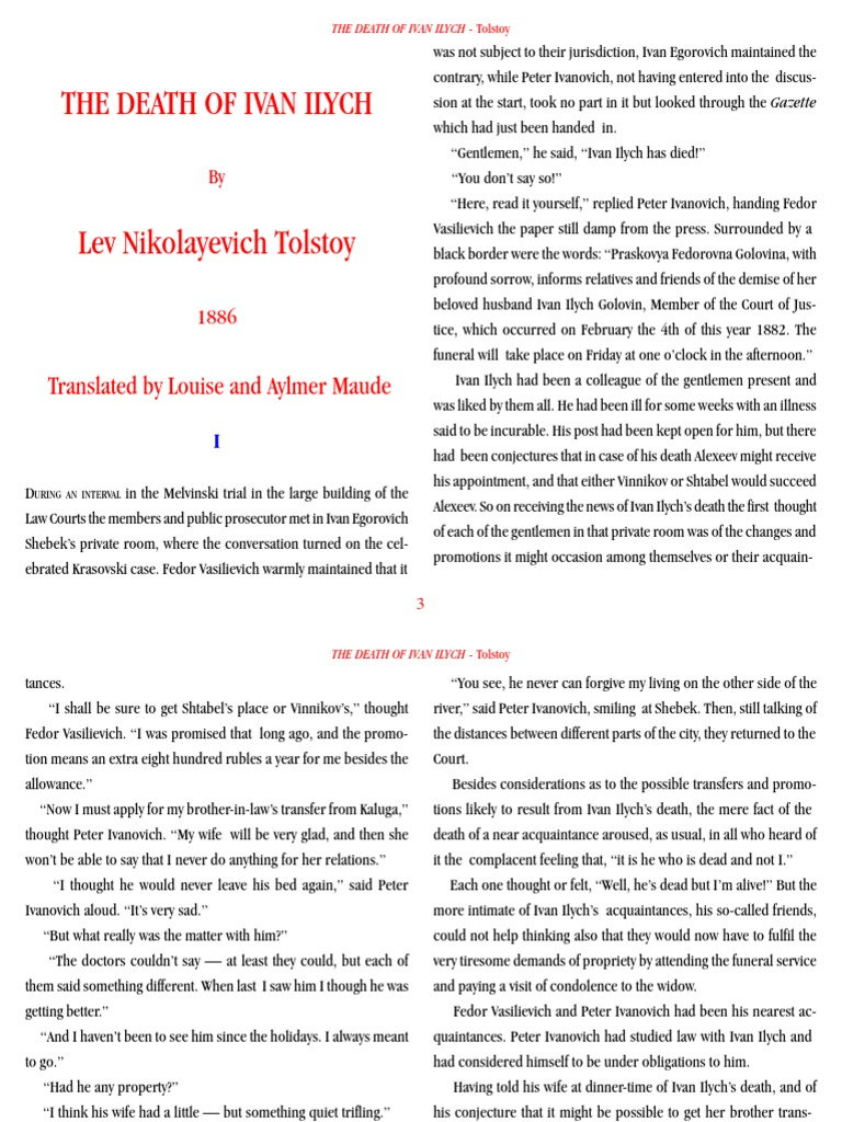 the death of ivan ilych essay the syllogism reflection the death of ivan ilyich tolstoy a a the syllogism reflection the death of ivan ilyich tolstoy a a