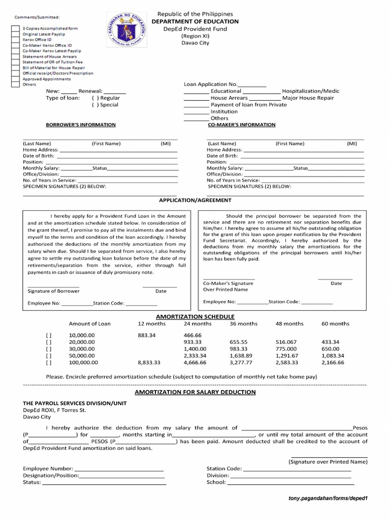 download deped provident loan form frontpage