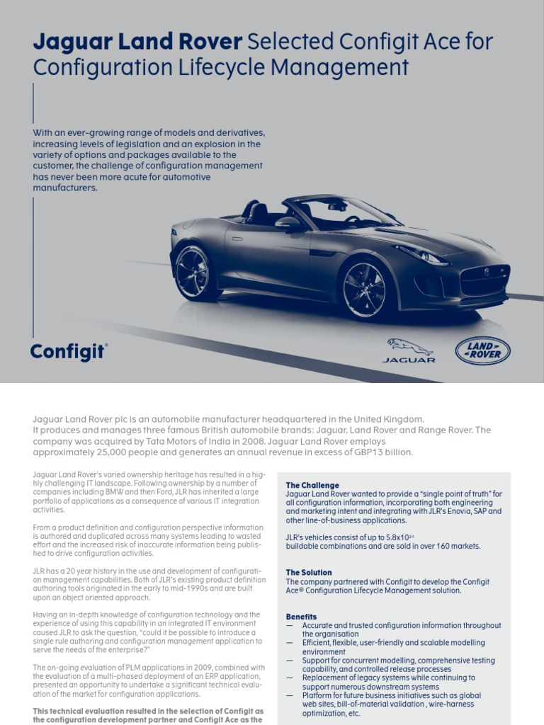 Jaguar Land Rover Configuration Lifecycle Management Web Automotive Wiring Harness Process