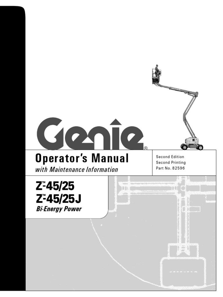 Genie Z45 25 J Boom Lifts Manual Awp 25s Lift Wiring Diagram