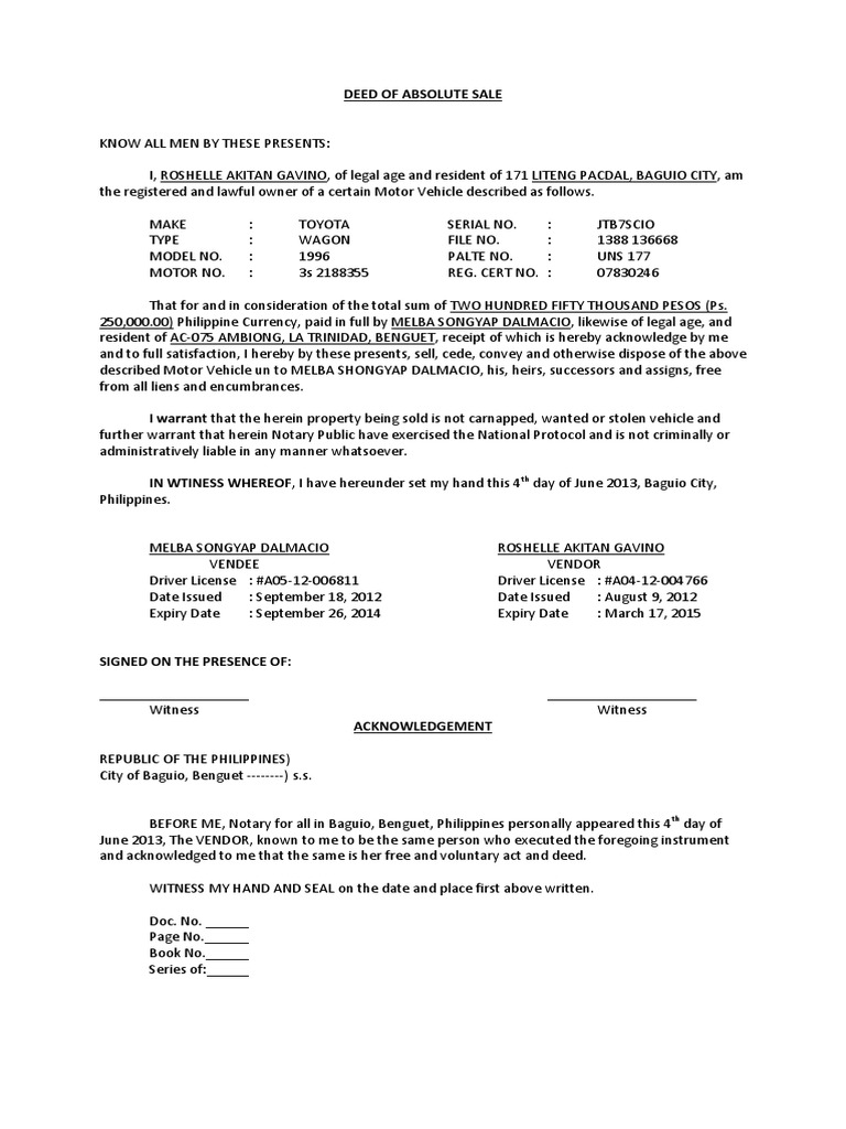 sample of deed of sale docshare tips
