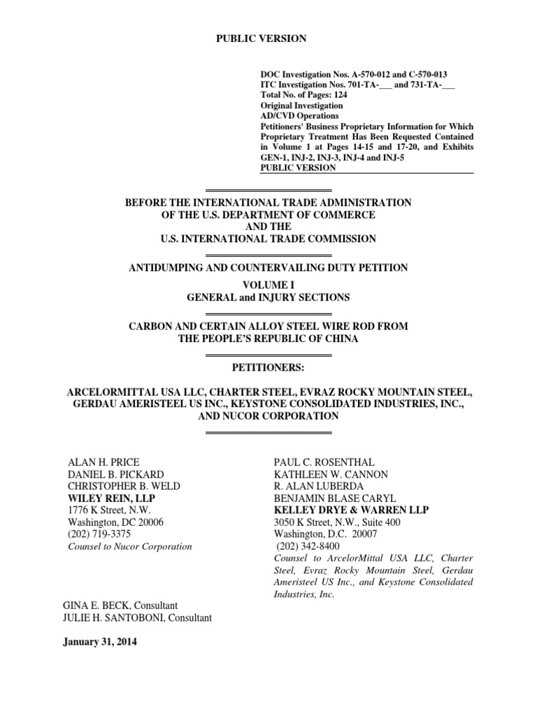 Download Steel Wire Rod Petition General & Injury Narrative ...