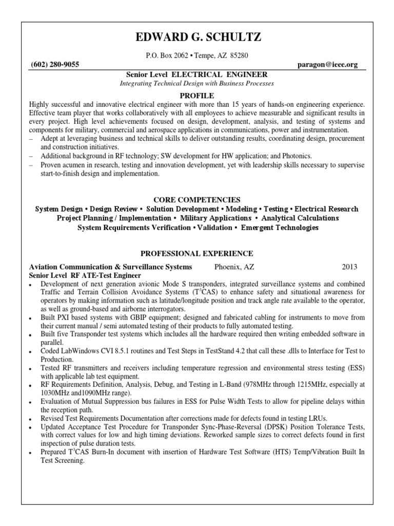 Download Electrical Systems Test Engineer In Phoenix Az Resume