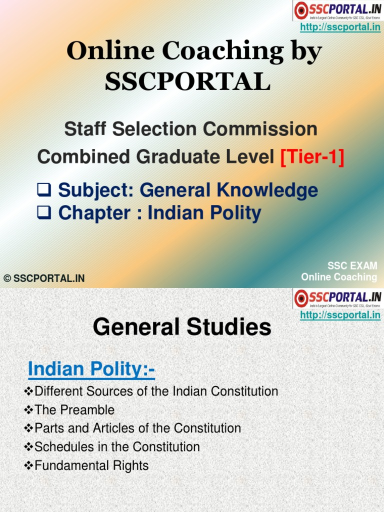 Download SSC Online Coaching CGL Tier 1 GK Indian Polity