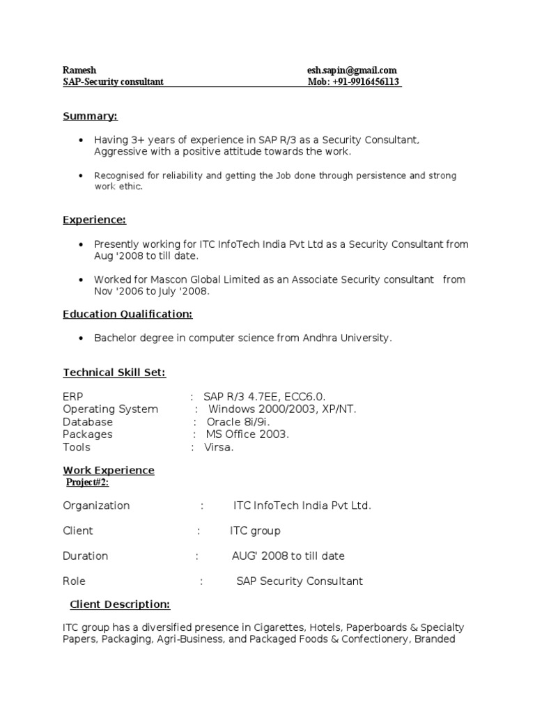 Sap Security Resume resume for student with no work experience ...