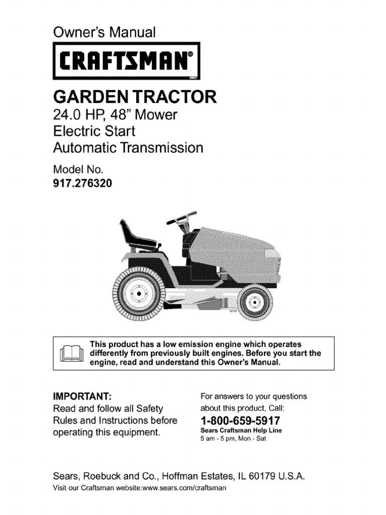 craftsman 24 hp lawn tractor manual