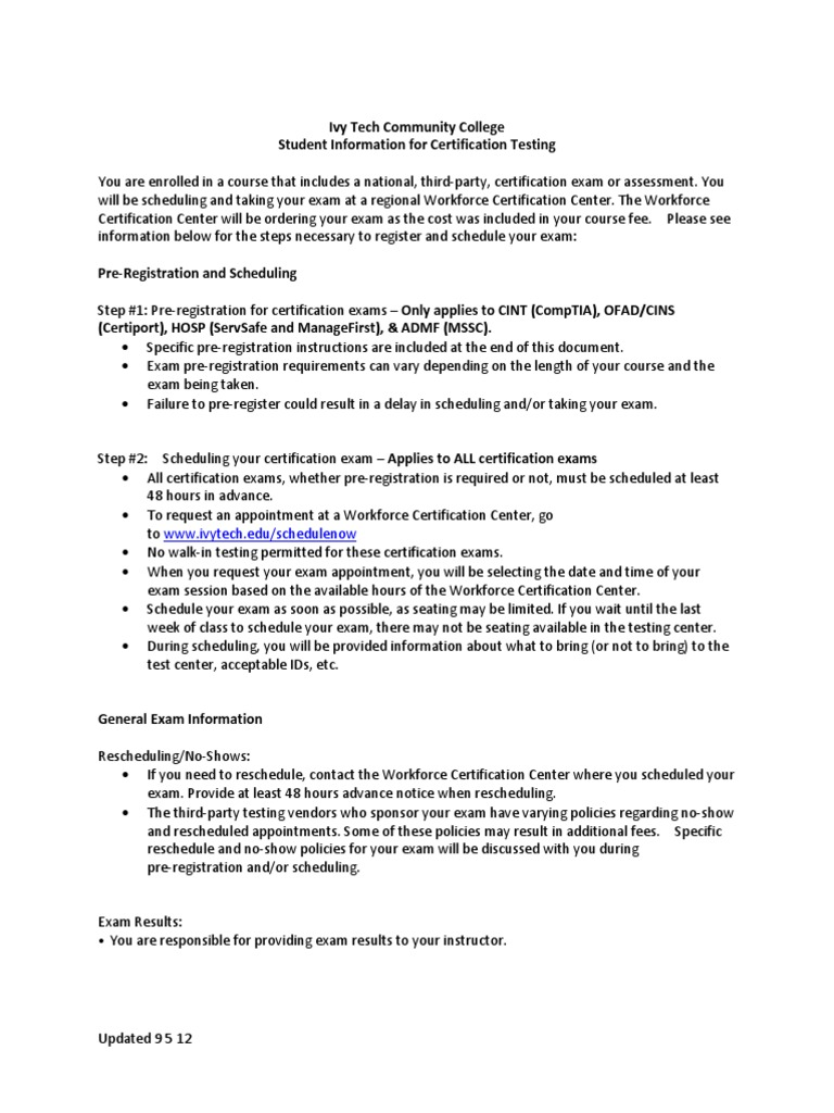 Student Information For Certification Testing Docshare