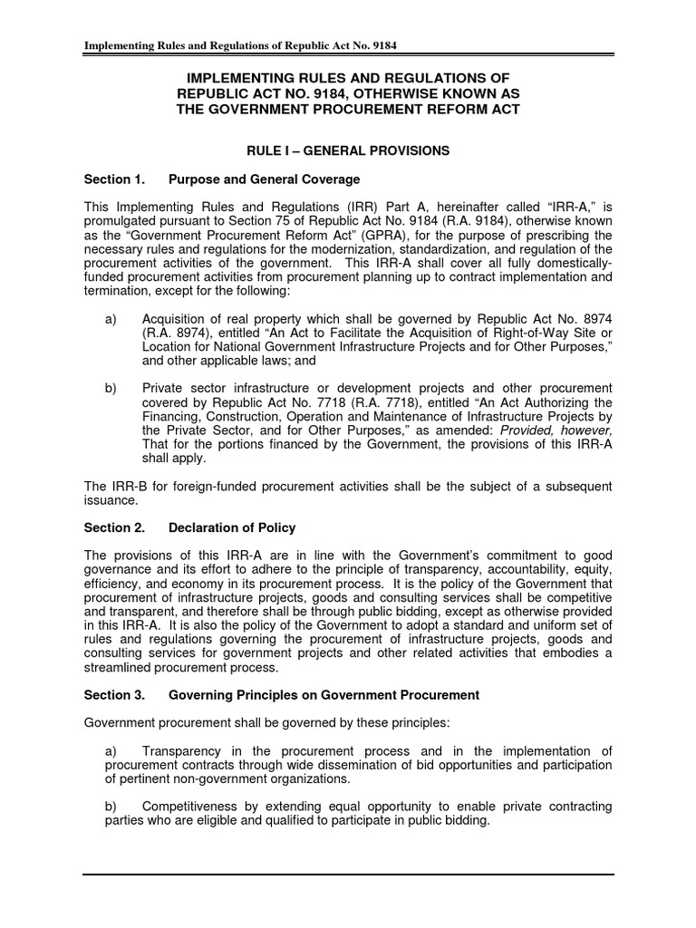 implementing rules and regulations of ra 9184 Approving amendments to the revised implementing rules and regulations of republic act no 9184 whereas, republic act implementing rules and regulations of.