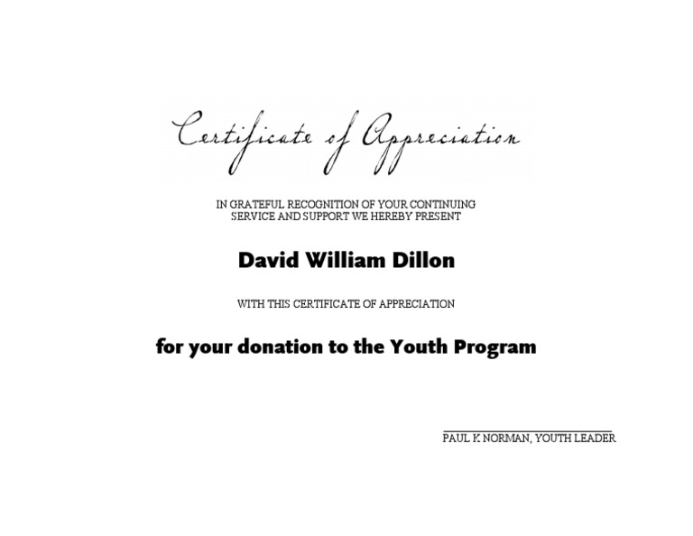 Certificate of appreciation donation insrenterprises certificate of appreciation donation yadclub Images