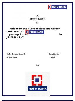 hdfc bank project