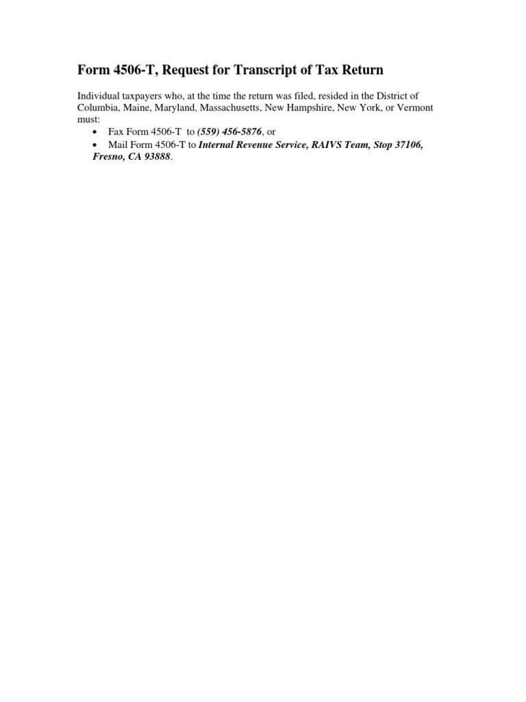 Download Form 4506-T, Request for Transcript of Tax Return ...