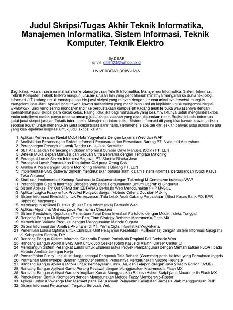 Contoh Soal Dan Materi Pelajaran 2 Contoh Tesis Teknik Informatika