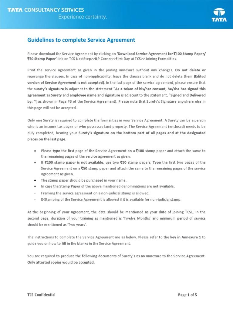Service Agreement Guidelines Docshare