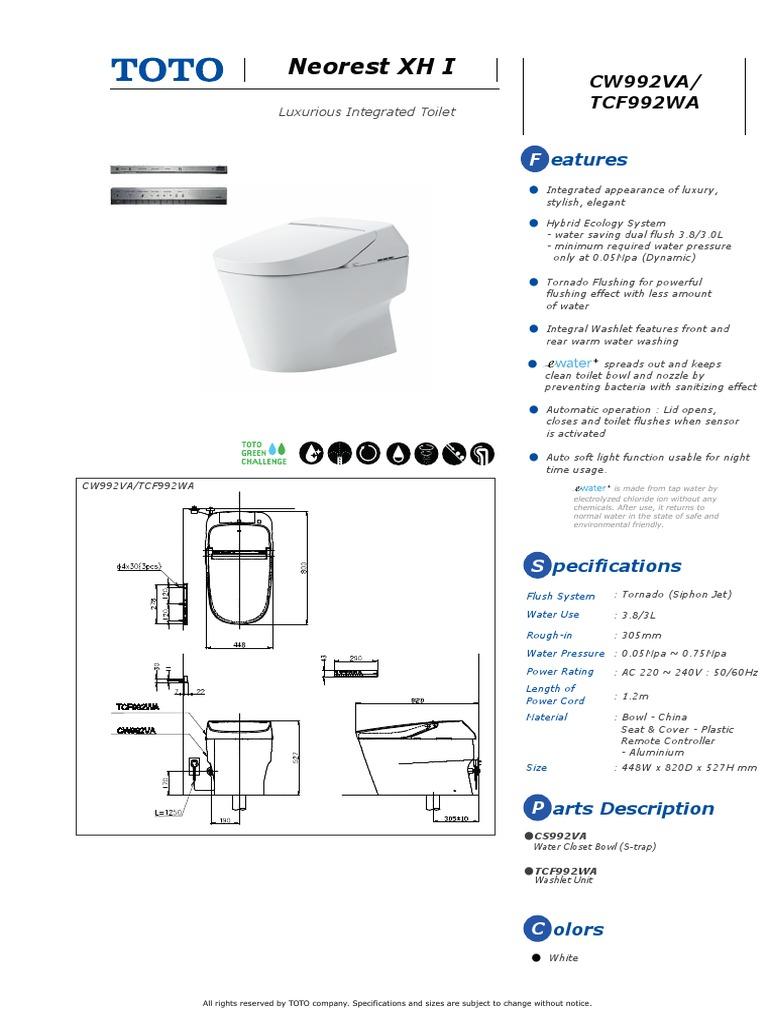 Toto Luxury Toilet Specc - DocShare.tips