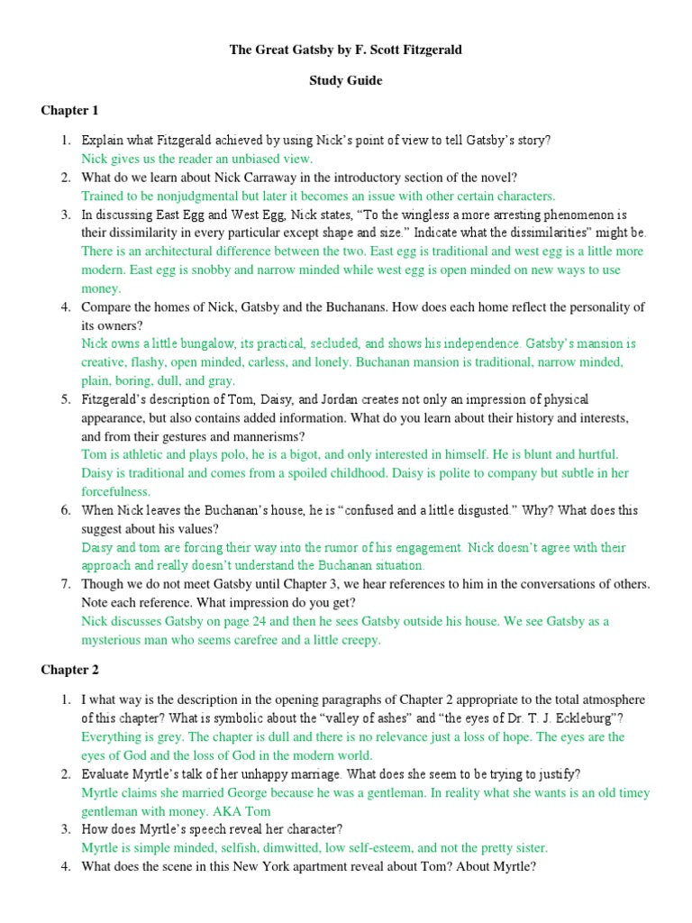 good essay questions for the great gatsby The great gatsby essay  paper without a clear question and  the characters in the great gatsby what would be a good thesis statement for the.