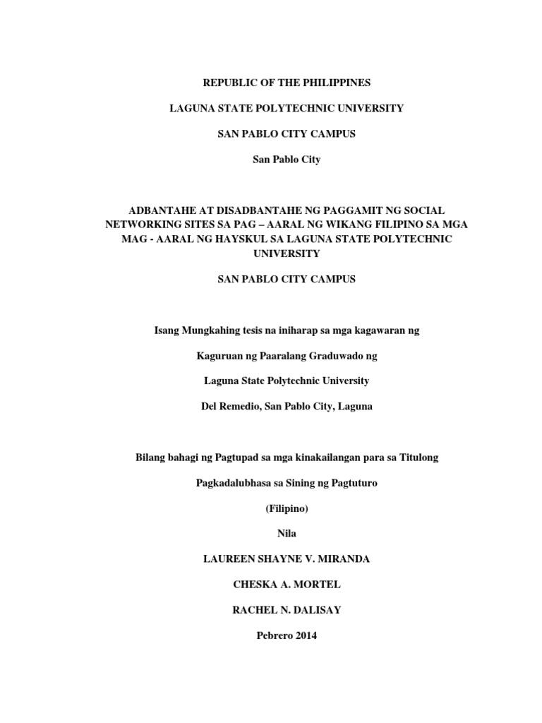 epekto ng paggamit ng social networking sites thesis