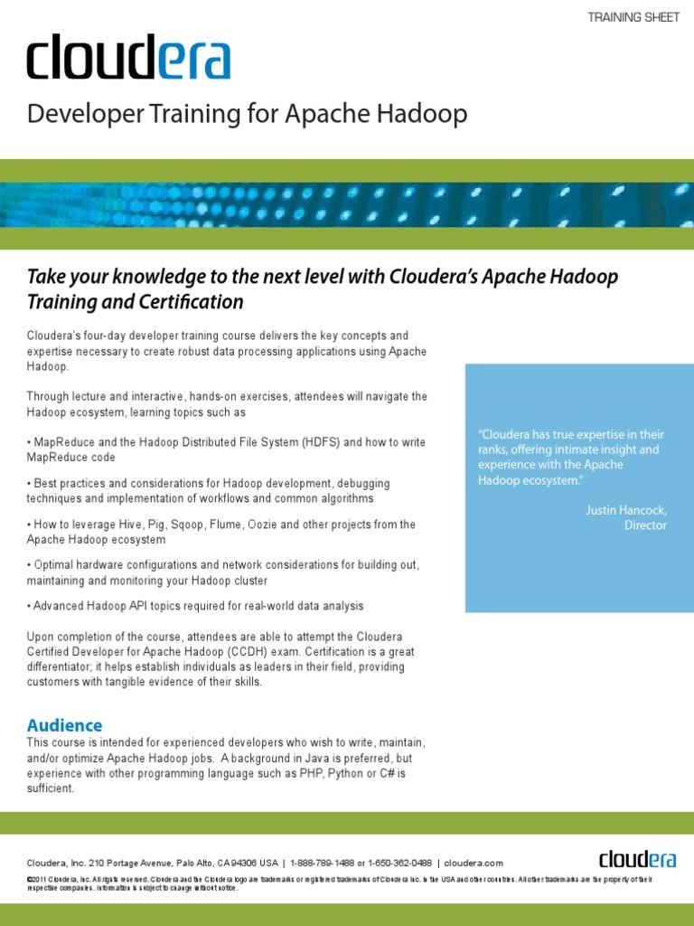 Cloudera Developer Training For Apache Hadoop Docshare