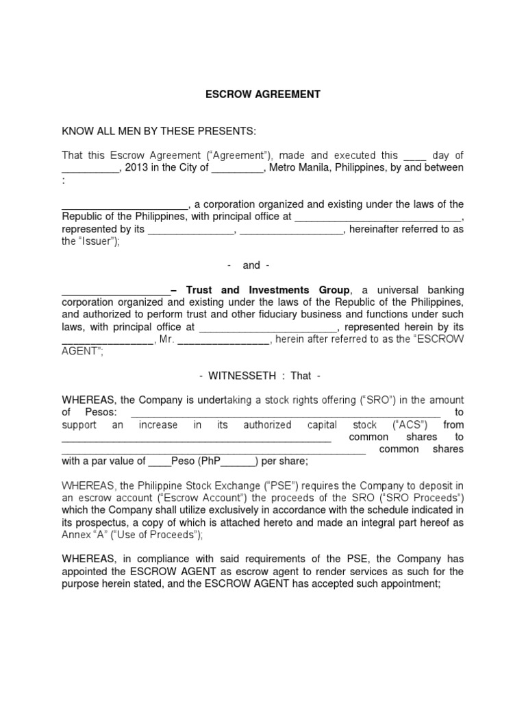 Escrow Agreement Sro Docshare