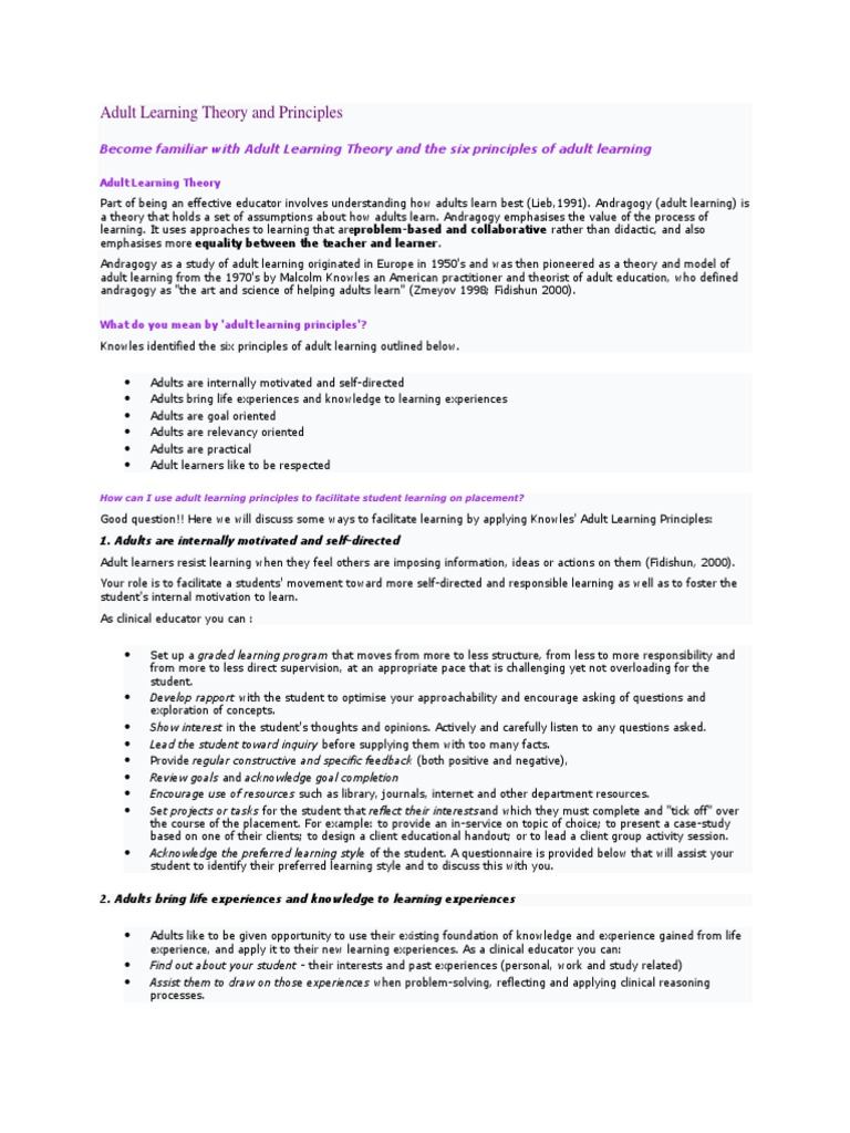 andragogy a set of assumptions about adult learners Learn andragogy with free interactive flashcards choose from 22 different sets of andragogy flashcards on quizlet.