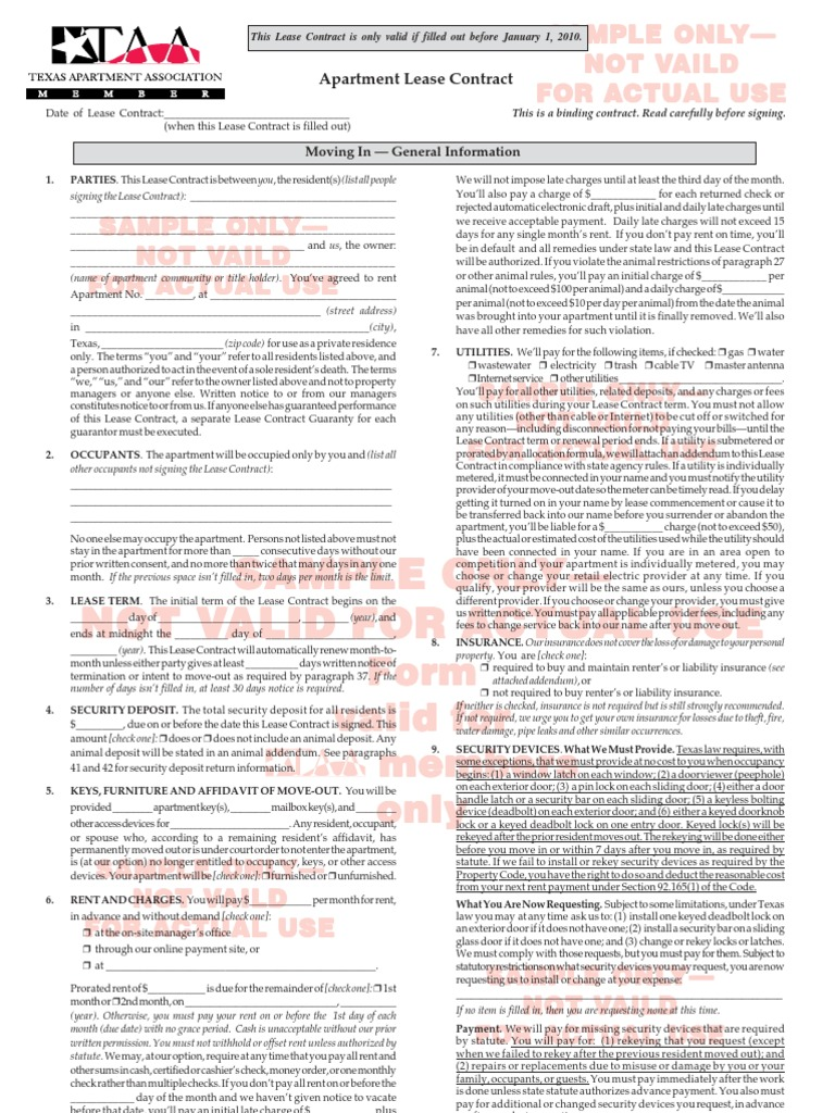 Texas Apartment Association Lease Agreement Apartment