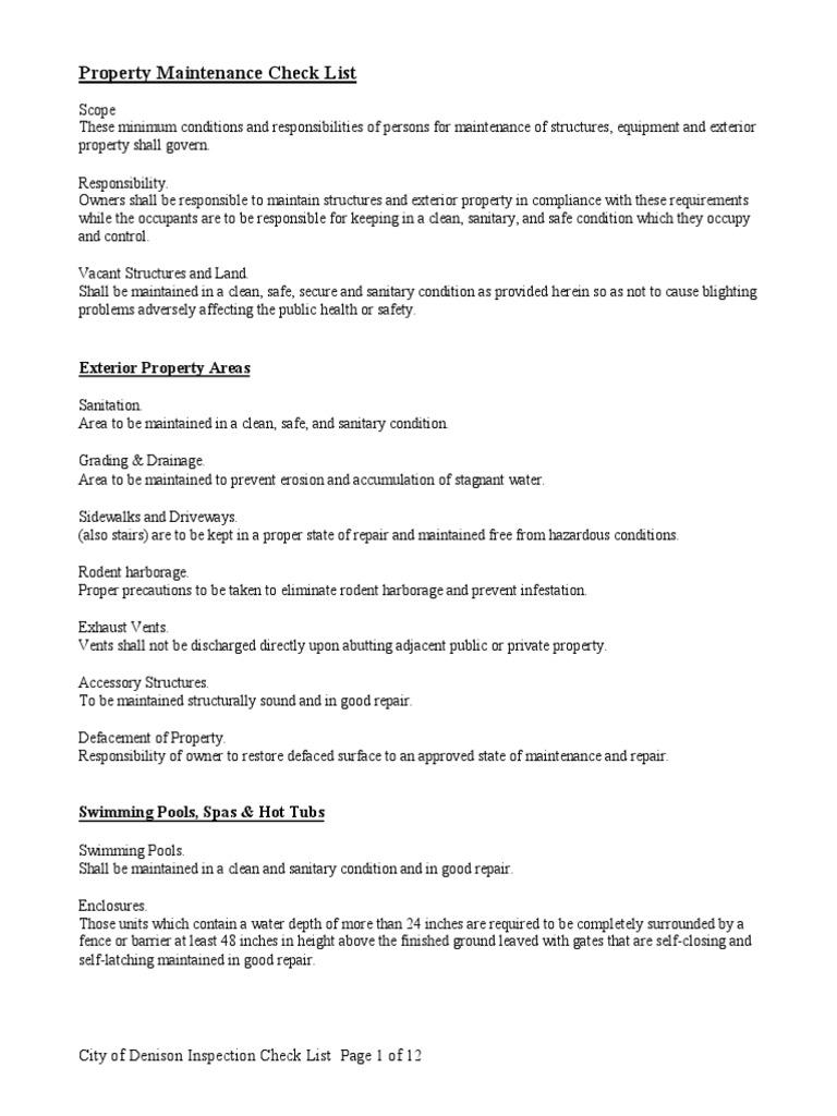 preventative maintenance checklists