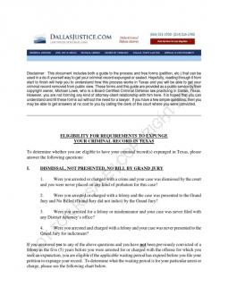 FREE DIY TEXAS EXPUNGEMENT OF CRIMINAL RECORD: GUIDE AND FORMS ...