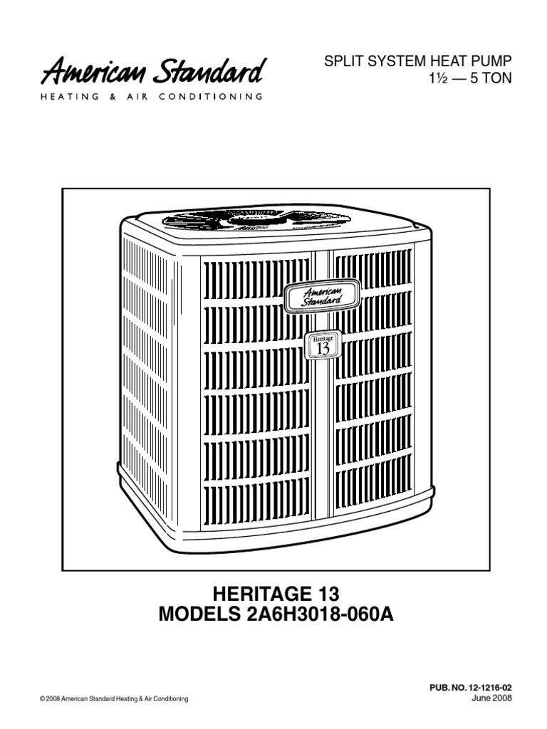 heritage 13 heat pump outside unit owners manual docshare tips rh docshare tips American Standard Condenser Unit Cutaway American Standard Air-Handler